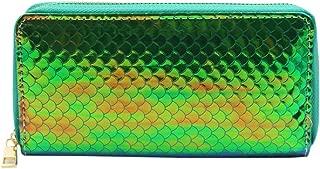 Glitter Holographic Clutch Wallet Mermaid Long Wristlet Purse Card Holder for Women Girls
