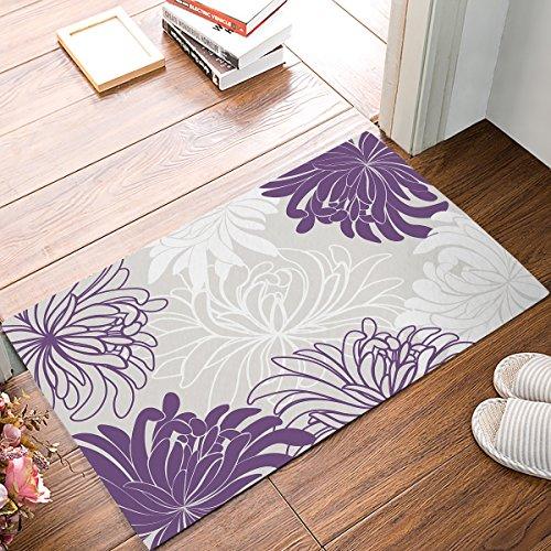 """Non Slip Backing Doormat Daisy Floral Printed Indoor/Outdoor/Front Door/Bathroom Entrance Mat Rugs,Purple (18""""x30"""")"""