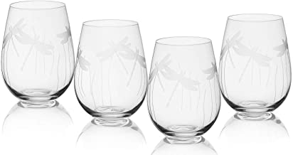 Dragonfly Glasses For White and Red Wine, Water or Whiskey, by The Wine Savant, Each Glass Is Individually Sand Etched - Dragonfly Wine Glasses