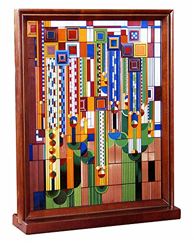 Frank Lloyd Wright Saguaro Wood Framed Stained Glass