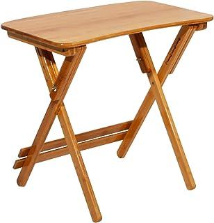 Mesa auxiliar plegable, mesa de balcón, mesa de jardín, mesa plegable de bambú, mesa de estudio, escritorio, altura regulable y plegable, 70 x 49 x (62 – 78) cm