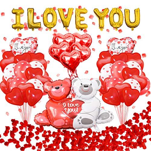 YU-HELLO Kit de globos de corazón para el día de San Valentín con diseño de oso y globos de corazón