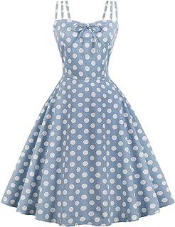 Wellwits Women's Cami Strap Yellow Polka Dots Tea Party 1950s Vintage Dress