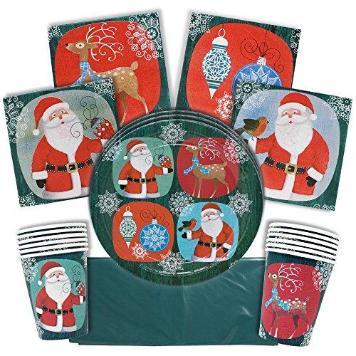 61 Piezas Vajilla Desechable para Fiestas de Navidad| Colores Festivos, Papá Noel...