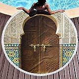 BOBO-Shop Toallas de Playa Redonda Grande Círculo Tapiz Manta de Playa Fachada de Casas de Pueblo de artesanía marroquí