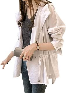 EnergyWomen Plus Size Hoode Open Front Smocked Waist Long-Sleeve Coat Jacket