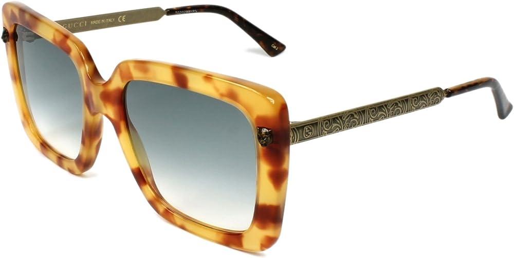 Gucci, occhiali da sole da donna, acetato e metallo, havana trasparente e stampa ottone GG0216S