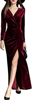 burgundy velvet long sleeve maxi wrap dress