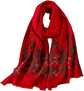 HangErFeng Scarf Shawl Women Wool Embroidered Stereo flower Warm Soft Luxurious Christmas Valentine gift packaging