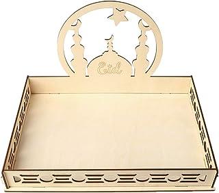 Dolloress 1x Wooden Serving Tableware Muslim Eid Mubarak Food Serving Tray Plate Wood Art Cutout Craft Desk Ornaments For ...
