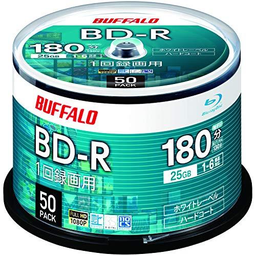 バッファロー ブルーレイディスク BD-R 1回録画用 25GB 50枚 スピンドル 片面1層 1-6倍速 ホワイトレーベル...