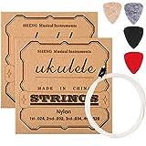 2 Juegos de Cuerdas de Ukulele de Nylon con 4 Púas de Fieltro, Cuerdas Blancas, Púas Amarilla, Gris, Negra, Roja
