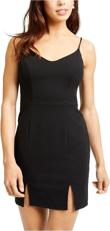 City Studio Womens Black Lace Solid Spaghetti Strap V Neck Short Body Con Dress Size 3