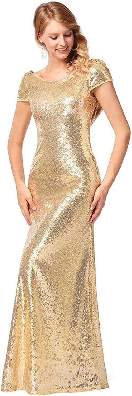GJX Women's Sequins dresses Short sleeves Evening Cocktail Party Slim Long Skirt SXXL