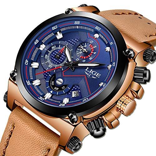 Relojes para Hombres,LIGE Cronógrafo Impermeable Militar Deportivo an