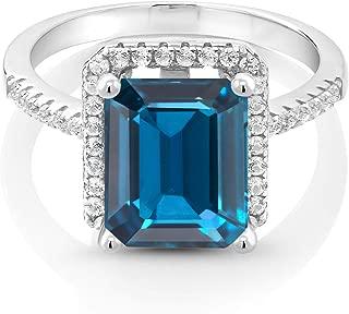 925 Sterling Silver London Blue Topaz Women's Ring, 4.36 Cttw, Gemstone Birthstone, 10X8MM Emerald Cut