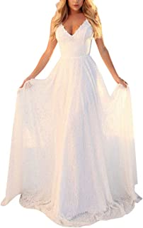 Womens Adjustable Spaghetti Strap Sleeveless Lace Boho Maxi Dress Wedding Bridesmaid Summer Beach Party Long Dress