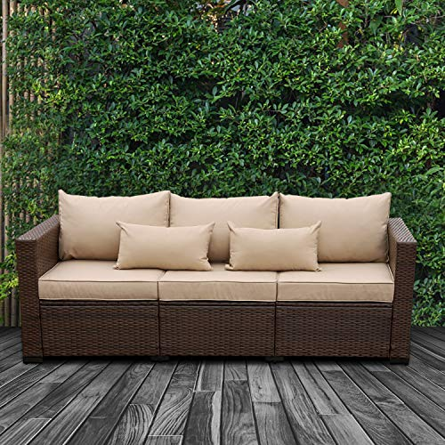 Patio PE Wicker Couch - 3-Seat Outdoor Brown Rattan Sofa Seating Furniture with Beige Cushion