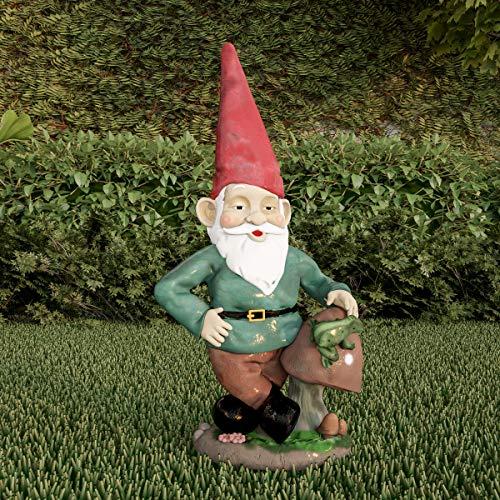 Pure Garden 50-LG1099 Rasenzwerg Statue - Lustige Klassische Figur aus Kunstharz für Outdoor-Dekoration für Blumenbeete, Feengärten, Hinterhöfe und mehr