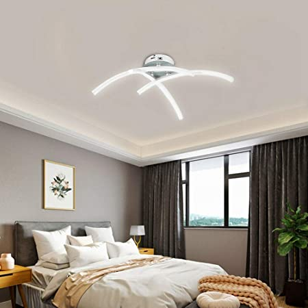 ALLOMN Plafonnier LED, Lampe de Lustre Plafonnier Design Moderne Courbé avec 3 Lumière Courbée Pour le Salon Chambre Salle à Manger 18W (Blanc Froid)