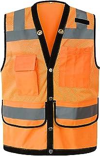 YUFENGBAIHUODIAN Nuit Vélo Vest de sécurité Femmes Haute Visibilité Réfléchissant Vest Moto Gilet Homme Vêtements de Trava...