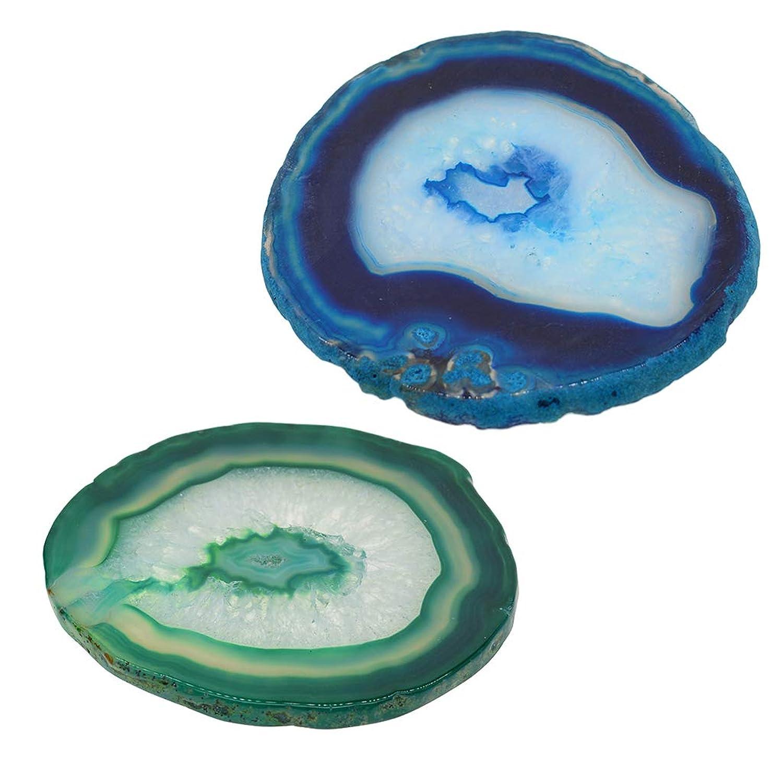 gazechimp 天然瑪瑙 絵皿 ネイルアートパレット コースター ミキシングプレート 卓上装飾 2個入り
