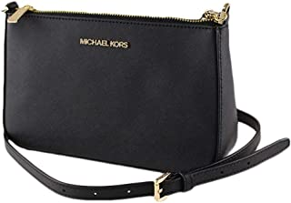 Michael Kors Medium Leather Zip Crossbody Purse - Black