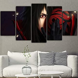 SFXYJ 5 Pieces Prints on Canvas - Naruto Uchiha Madara Animation Character Poster - Paintings for Home Decor - The Pictures for Living Room Decoration,A,20×35×2+20×45x2+20x55×1