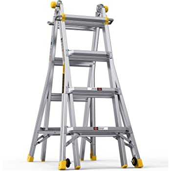 BLUBERY Multi-Functional Ladder, 17 FT Aluminum Telescoping Ladder with 2 Delicate Wheels, Safe Protective Switch, Non-Slip Rung&End Cap, 300LB Capacity Extension Ladder…