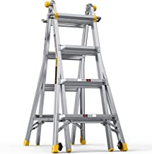 BLUBERY Multi-Functional Ladder, 17 FT Aluminum Telescoping Ladder with 2 Delicate Wheels, Safe Protective Switch, Non-Sli...