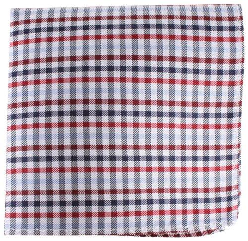 Knightsbridge Neckwear Red/Silver/Navy Checked Silk fazzoletto