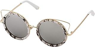 Sky Vision Panto Sunglasses for Women, Black Lens, J9864