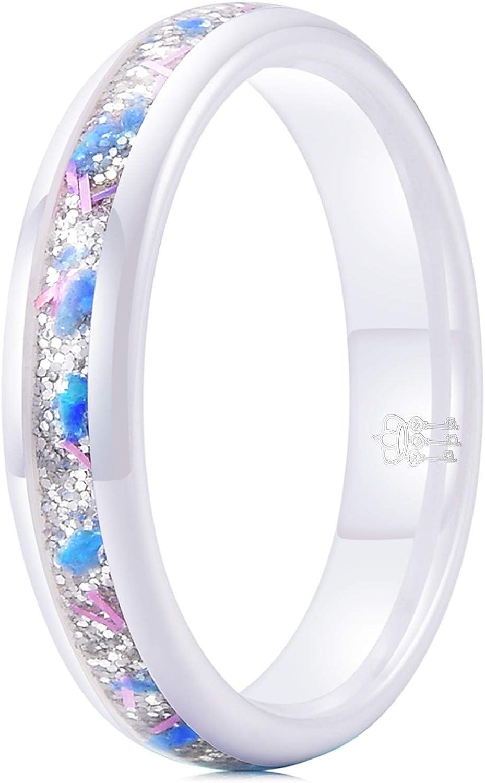 THREE KEYS JEWELRY 4mm 6mm White Black Ceramic Ring with Blue White Sand Galaxy Created-opal Stone Inlay
