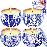 MELOPHY Citronella Candles, Outdoor and Indoor 4 Pack 4.8 Ounce Scented Candles, Pure Soy Wax Citronella Candle, Portable Travel Tin Candle Gift Set