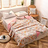 Manta de bambú refrescante para dormir caliente, manta ligera de verano, tamaño completo, manta fina de bambú extra fresca para sofocos (200 x 230 cm, flor naranja)