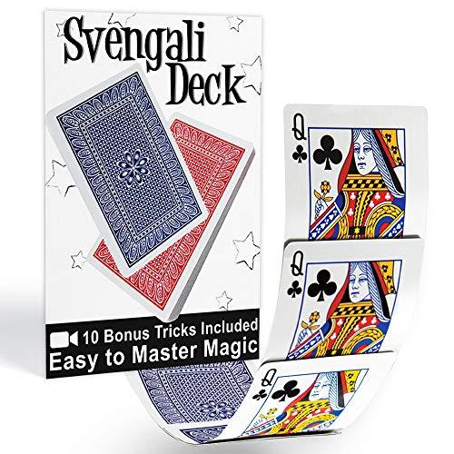 Magic Makers Svengali Deck- Easy Magic Card Trick Kit - Assorted Red or Blue Back Includes 10 Bonus Tricks Online