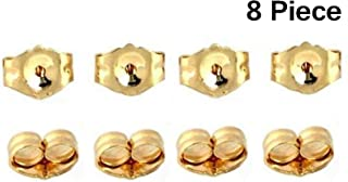 8-Piece 14K Yellow Gold Earring Backs Replacement Earring Backs