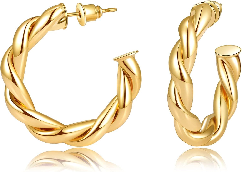 BYIA Twisted Gold Hoop Eearrings for Women 14K Gold Plated Chunky Wrap Hoop Earrings High Polished Hoops Women Teen Girl Jewelry Gift