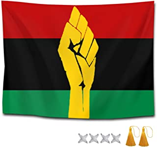 NiYoung Boutique Tapestry, Hippie Tapestries Bedroom Living Room Dorm Home Decor Art Wall Hanging - Black Power Pan African Flag, 60