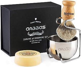 Shaving Brush Set, 4pcs Anbbas Pure Badger Hair Brush Solid Wood Handle with Goat Milk Shaving Soap 100g,Stainless Steel S...