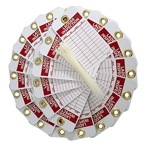 NMC RPT168G Ladder Inspection Tag – [25 Pack] 3 in. x 6 in. Vinyl 2 Sided Inspection Tag with White/Red Text on Red/White Base