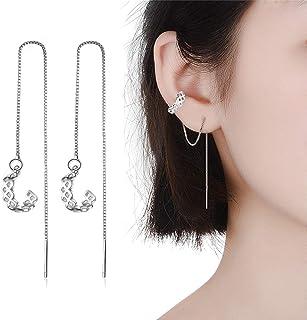 Tassel Earrings Silver Wave Cuff Earrings Wrap for Women Threader Earrings (Grid)