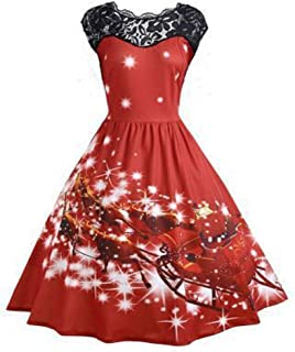LENXH Ladies Stitching Lace Dress Print Slim Skirt Christmas Print Dress Fashion Casual Beach Skirt
