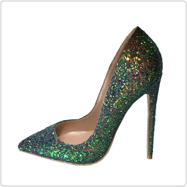 ZXCVB& Green Glitter Bling Bling Wedding 12 cm high Heel Pumps Sexy Stiletto Heel Party