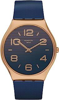 Swatch st. Steel Quartz Rubber Strap, Blue, 16 Casual Watch (Model: SS07G101)