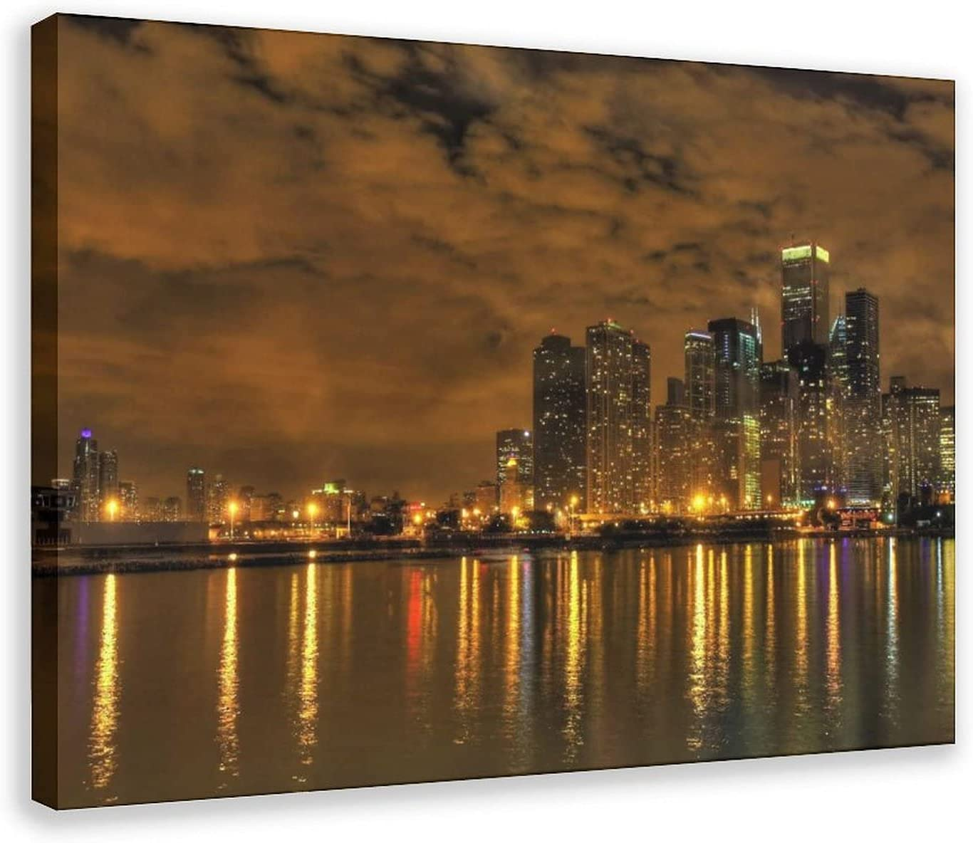 Max 58% OFF Cityscape Chicago Lake Night Canvas Limited price Art Poster Decor Wall Print