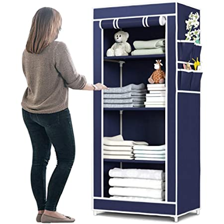 SevenYten Collapsible Wardrobe Organizer, Storage Rack for Kids and Women, Clothes Cabinet, Bedroom Organiser 4 Shelves 4 Quick and Easy to Assemble