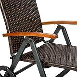 TecTake Aluminium Poly Rattan Sonnenliege mit Armlehnen und Rollen klappbar Gartenliege - 4