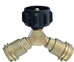 Onlyfire Propane Splitter,Propane Y Splitter Adater with Valves,QCC1/Type1 Cylinder Bottle Brass T Adapter Connector for Propane Appliance BBQ Grill,Camping Stove,Heater,Gas Burner Grill
