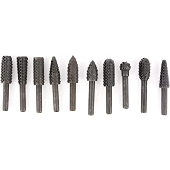 """10Pcs 1//4/"""" 6MM Rotary Carving Cut Burrs Drill Bits For Power Tool With 3MM Shank"""